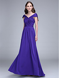 Floor-length Jersey Bridesmaid Dress Sheath / Column Off-the-shoulder with Criss Cross