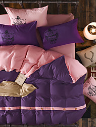 Sólido Sets Funda Nórdica 4 Piezas Poliéster Un Color Estampado reactivo Poliéster Reina4 Unidades ( 1 Cobertor de Edredón, 1 Sábana, 2