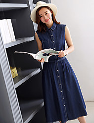 Wake Up® Women's Shirt Collar Sleeveless Midi Dress-L16262