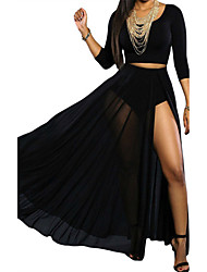 Women's  Black Sheer Slit Panty Luxe Maxi Skirt