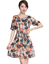 Women's Casual/Daily Simple Chiffon Dress,Round Neck Knee-length ½ Length Sleeve Green Polyester Spring / Summer / Fall