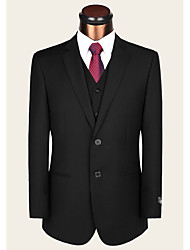 Costumes Coupe Sur-Mesure Cranté Droit 2 boutons Laine Couleur Pleine 2 Pièces Noir Poche Passepoilée Droite Aucun (Plat) NoirAucun