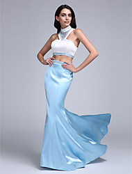 TS Couture Prom Formal Evening Dress - Two Pieces Trumpet / Mermaid High Neck Sweep / Brush Train Stretch Satin with Beading