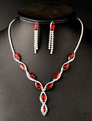 Jewelry Set Rhinestone Imitation Ruby Imitation Emerald Rhinestone Bridal Red Green Wedding 1set Necklaces Earrings Wedding Gifts