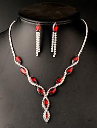 Strass Imitation Rubin Imitation Smaragd Brautkleidung Strass Rot Grün Halsketten Ohrringe Für Hochzeit 1 Set Hochzeitsgeschenke