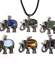 Beadia 44x48mm Vintage Antique Silver Plated Elephant Necklace Pendant with Stone (1Pc)