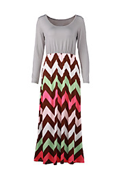 Women's Beach Loose Dress,Striped / Print Round Neck Maxi Long Sleeve Gray / Green Cotton Fall