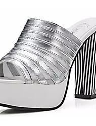 Damen-Sandalen-Lässig-PU-Blockabsatz-Sandalen-Schwarz / Weiß / Silber