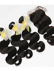 4шт много Малайзии девственные волосы с закрытием 3 расслоений необработанной Малайзии объемная волна человеческих волос Weave с закрытием