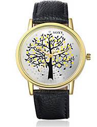 SOXY® Men's  Black/Brown Leather Band Life Tree Case Analog Quartz Dress Watch(NO Water Ressistant)