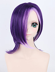 encantador peluca sintética púrpura de la pendiente de 45 cm de mezcla de color rosa para Europa y América las mujeres que usan a diario