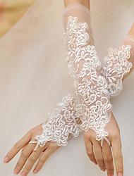 Opernlänge Ohne Finger Handschuh Spitze Brauthandschuhe Party / Abendhandschuhe Frühling Sommer Herbst Winter Perlen Spitze