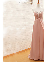 Sheath / Column Sweetheart Sweep / Brush Train Chiffon Evening Dress with Beading