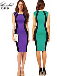 yuntuo®high класса цвета круглым воротом удар рукавов воспитать в себе мораль прикладом сращивания платье карандаша