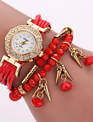 Women's Layered Leather Beads Strand Band White Case Analog Quartz Wrap Bracelet Fashion Watch