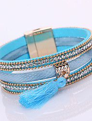 Multilayer Leather Bracelet Magnetic Crystal Bracelets For Women 2016 Vintage Rhinestone Tassel Bracelets