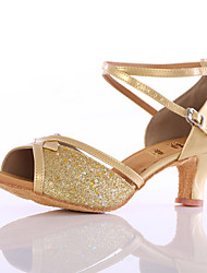Women's Girl's Dance Shoes Sparkling Glitter Latin Sandals Heel Indoor More Color Customizable