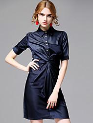 AFOLD® Women's Shirt Collar Short Sleeve Knee-length Dress-5667