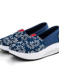 Women's Shoes Canvas Spring / Fall Espadrilles Loafers  / Casual Flat Heel Split Joint Blue / Purple / Multi-color