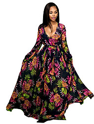 Women's Holiday Boho Chiffon Dress,Floral Deep V Maxi Long Sleeve Polyester Spring / Summer Mid Rise Micro-elastic Thin