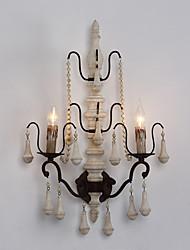 двойной головки древесины с металлическим материалом обшивки цвета стиле ретро настенный светильник для внутреннего украсить стены лампы