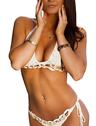 Women's Hollow Out Knit Split Type Halter Bikinis,Solid / Bandage Push-up