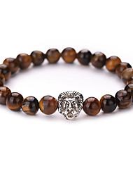Women Men Fashion Bracelet Natural Tiger Stone Lion Strand Bracelet  #YMGS1001
