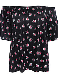Women's Print Black T-shirt,Boat Neck Short Sleeve