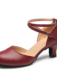 Women's Dance Shoes Leather Leather Latin / Modern Heels Chunky Heel Practice / Indoor