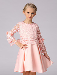 A-line Knee-length Flower Girl Dress - Lace / Satin 3/4 Length Sleeve Jewel with