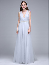 Lanting Bride® Sweep / Brush Train Tulle Bridesmaid Dress - Sheath / Column V-neck with Crystal Detailing