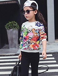 Girl's Casual/Daily Print Hoodie & Sweatshirt,Faux Fur / Cotton Winter / Spring / Fall Multi-color / Gray