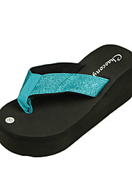 Women's Slippers & Flip-Flops Summer Flip Flops Polyester Casual Wedge Heel Others Black / Blue / Brown / Pink