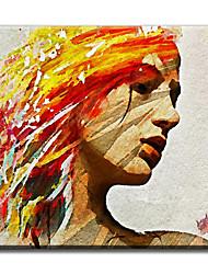 Pintados à mão Pessoas Mediterrêneo / Pastoril / Estilo Europeu / Modern / Clássico / Tradicional / Realismo,1 Painel TelaHang-painted