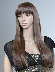 Capless Brown Color Long High Quality Natural Straight Synthetic Wig