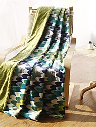 "Flannel Blankets Bed Blanket  W70""×L79"" Super Soft Warm and Easy Care Curve Pattern"