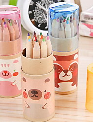 12 Cartoon Colorful Pencils with a Pencil Sharpener