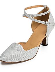 Non Customizable Women's Dance Shoes Flocking Flocking Salsa Sandals / Heels Flared Heel Beginner / Indoor Silver
