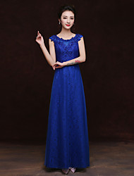 Floor-length Lace Bridesmaid Dress - Sheath / Column Scoop with Appliques