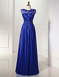 Formal Evening Dress A-line Scoop Floor-length Tulle / Jersey with Beading / Pearl Detailing / Side Draping