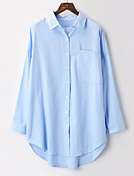 Women's Casual/Daily Simple Summer Blouse,Print Shirt Collar ½ Length Sleeve Blue / Pink / White Cotton Thin