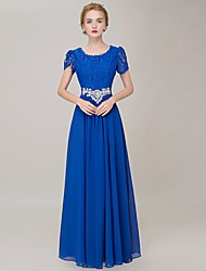 Sheath / Column Scoop Neck Floor Length Chiffon Prom Dress with Lace
