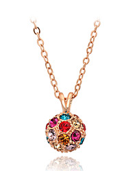HKTC New Multicolor Rhinestone Ball Necklaces & Pendants Fashion Brand Vintage Jewelry for Women Chains Accessiories