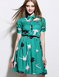 Women's Casual/Daily A Line / Shirt Dress,Print Shirt Collar Above Knee Short Sleeve Green Polyester Summer