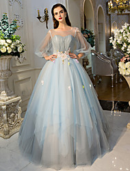 Formal Evening Dress Ball Gown Jewel Floor-length Tulle with Crystal Detailing / Flower(s) / Lace / Side Draping