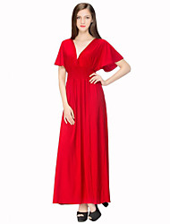 Women's Holiday / Plus Size Boho Dress,Solid Deep V Maxi Short Sleeve Red Cotton / Polyester Summer