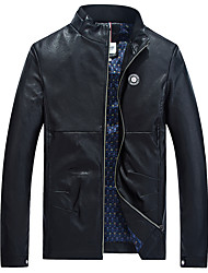 Men's Long Sleeve Casual / Work / Formal / Sport Jacket,PU / Cotton / Rayon / Polyester Solid Black / Blue / Red