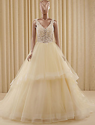 Ball Gown Wedding Dress See-Through Court Train V-neck Organza Satin with Appliques Beading
