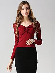 Damen Solide Einfach Lässig/Alltäglich T-shirt,V-Ausschnitt Herbst Langarm Rosa / Rot / Weiß / Schwarz Polyester Mittel