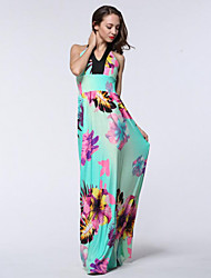 Women's Beach / Plus Size Boho Swing Dress,Floral Halter Maxi Sleeveless Green Polyester / Spandex Summer